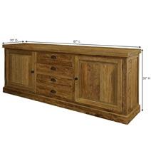 Centralia Rustic Reclaimed Teakwood 4 Drawer Large Sideboard Cabinet