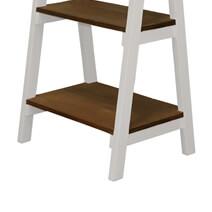 Wilson 4 Open Shelf Reclaimed Teak Wood Leaning Ladder Bookcase