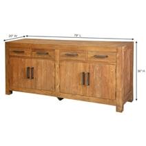 York Reclaimed Teak Wood 4 Door 4 Drawer Large Sideboard Cabinet