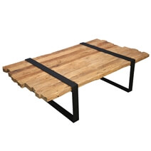 Garner Unique Teak Wood Plank Top & Iron Base Coffee Table