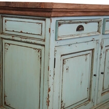 Scranton Ocean Blue Two Tone Solid Wood 4 Drawer Extra Long Sideboard