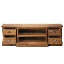 Bovey Modern Teak Wood Open Shelf 4 Drawer TV Stand