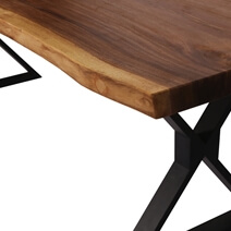 Gloucester Solid Wood Iron Base Large Live Edge Dining Table