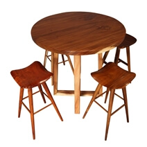 Oria Stylish Solid Wood Round Top Bar Table and Saddle Seat Stool