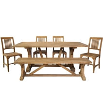 Fulton Teak Wood Trestle Base Dining Table With 4 Chairs & Bench Set