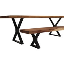 Gloucester Solid Wood Iron Base Live Edge Dining Table w 2 Bench Set