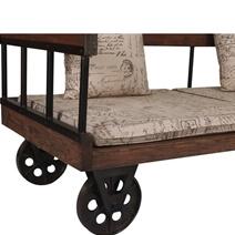 Lamlam Reclaimed Teak Wood Upholstered Two Seat Industrial Style Sofa
