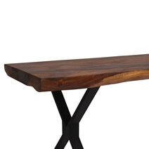 Single Slab Live Edge Clifton Industrial Handcrafted Solid Dining Table