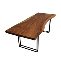 Single Slab Live Edge Mariemont Solid Wood Large Dining Table