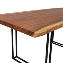 Piketon Solid Wood Single Slab Live Edge Large Dining Table