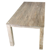 Durham Handcrafted White Wash Recycled Teak Wood Large Dining Table