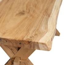 Single Slab Seneca Natural X Base Solid Wood Live Edge Dining Table