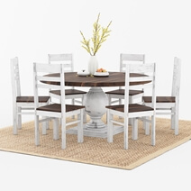 Illinois Two Tone Solid Wood Round Dining Table Chairs Set
