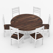 Illinois Two Tone Large Round 72 Dining Table With 8 Chairs Set