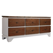 Alnwick Contemporary Two Tone Solid Teak Wood 6 Drawer Dresser
