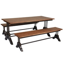 Amanda Trestle Base Reclaimed Wood Industrial Dining Table & Bench Set