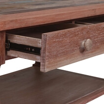 Distressed Reclaimed Wood 2 Drawer Balustrade Coffee Table