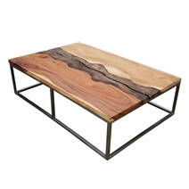Torrance Iron Base Natural Live Edge Coffee Table