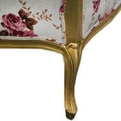 Vancouver Traditional Mahogany Wood Carnation Floral Fabric Arm Chair