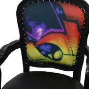 Horsham Colorful Graffiti Solid Wood Traditional Black Arm Chair