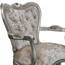 Lizton Royal Hand Carved Solid Wood Velvet Tufted Arm Chair