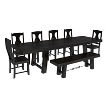 Tirana Rustic Solid Wood Extension Dining Table 6 Chairs and Bench Set