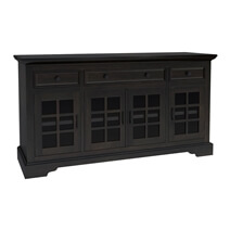 Tirana Rustic Solid Wood Glass Door 3 Drawer Large Sideboard Cabinet