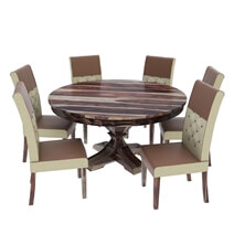 Hosford Handcrafted Solid Wood 8 Piece Round Dining Room Set