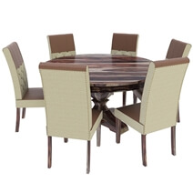 Hosford Handcrafted Solid Wood Round Dining Table and 6 Chairs Set