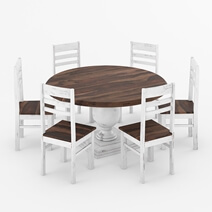 Illinois Modern Two Tone Solid Wood 10 Piece Round Dining Room Set