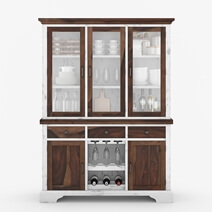 Illinois Modern Two Tone Rustic Solid Wood Glass Door Dining Bar Hutch