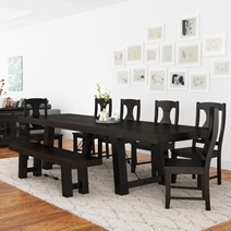 Tirana Rustic Solid Wood Large Farmhouse Dining Table With Extension