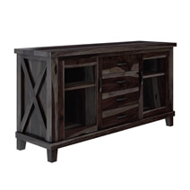 Antwerp Rustic Solid Wood Glass Door 4 Drawer Large Sideboard Cabinet