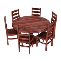 Minsk Rustic Traditional Rosewood Pedestal Dining Table and Chair Sets