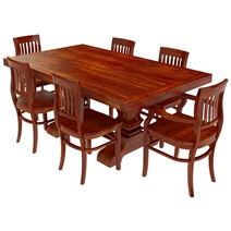 Siena Rustic Solid Wood 8 Piece Dining Room Set