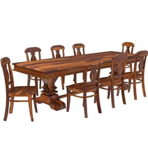 Tiraspol Traditional Rustic Solid Wood 6 Piece Dining Room Set