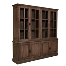 Leesburg Classic Solid Teak Wood Handcrafted Large China Cabinet