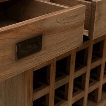 Mayport Teak Wood Rustic Wine Bar Buffet Cabinet