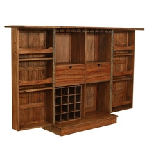 Valdosta Solid Teak Wood Handcrafted Expandable 49 Tall Wine Bar Cabinet