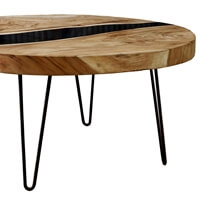 Suar Wood River Top Large Round Coffee Table
