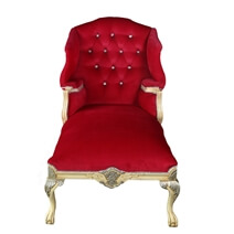 Holyrood Regal Elegant Tufted Velvet Mahogany Wood Chaise Lounge Sofa