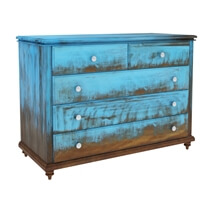 Empire Blue Dawn Rustic Solid Mango Wood 5 Drawer Dresser