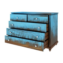 Empire Blue Dawn Rustic Solid Mango Wood Bedroom Dresser With 5 Drawer