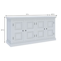 Ennis Solid White Mahogany Wood Large Sideboard Cabinet