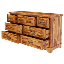 Colonial Rail Top Solid Wood 8 Drawer Large Dresser