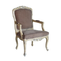 Selwyn Victorian Velvet Upholstery Mahogany Wood Accent Arm Chair