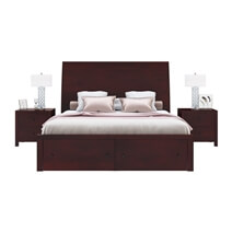 Petros Transitional Mahogany Wood 4 Piece Bedroom Set