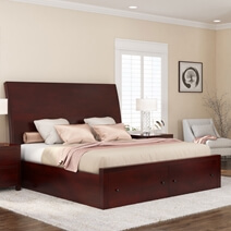 Petros Transitional Mahogany Wooden Sleigh Storage Platform Bed