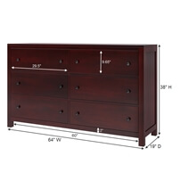 Petros Transitional Mahogany Wood 6 Drawer Double Dresser