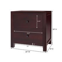 Petros Transitional Mahogany Wood 2 Drawer Nightstand